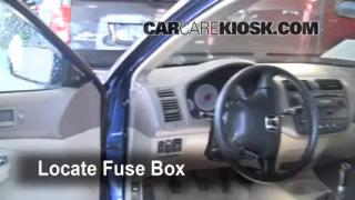 Interior Fuse Box Location: 2001-2005 Honda Civic