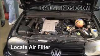 1995-2002 Volkswagen Cabrio Engine Air Filter Check