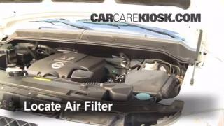 2001-2004 Nissan Pathfinder Engine Air Filter Check