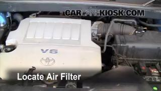 2008-2010 Toyota Highlander Engine Air Filter Check