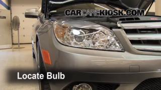 Interior fuse box location 2008 2013 mercedes benz c300 for Mercedes benz headlight problems