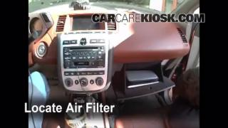 2003-2007 Nissan Murano Cabin Air Filter Check