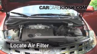 2003-2007 Nissan Murano Engine Air Filter Check