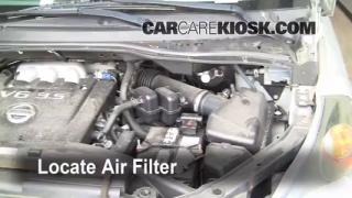 2004-2009 Nissan Quest Engine Air Filter Check