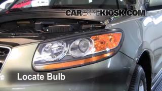 2009 Hyundai Santa Fe Limited 3.3L V6 Lights Highbeam (replace bulb)