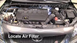 2009-2013 Toyota Corolla Engine Air Filter Check