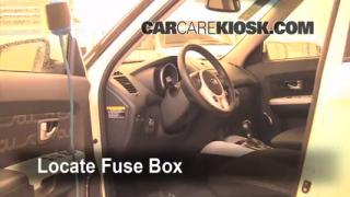 blown fuse check kia soul kia soul l cyl interior fuse box location 2010 2013 kia soul