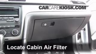 2012 Volkswagen Passat S 2.5L 5 Cyl. Sedan (4 Door) Air Filter (Cabin) Check